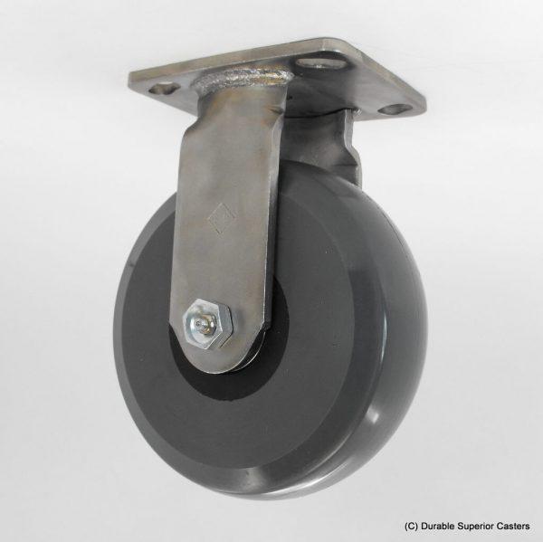 6″ x 2″ SOLID ELASTOMER STAINLESS STEEL RIGID CASTER
