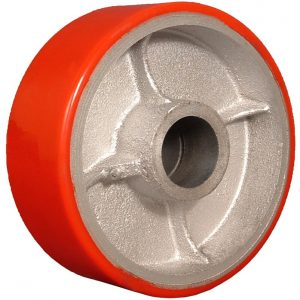 8″X2″ POLYURETHANE ON IRON WHEEL WITH ROLLER BEARING