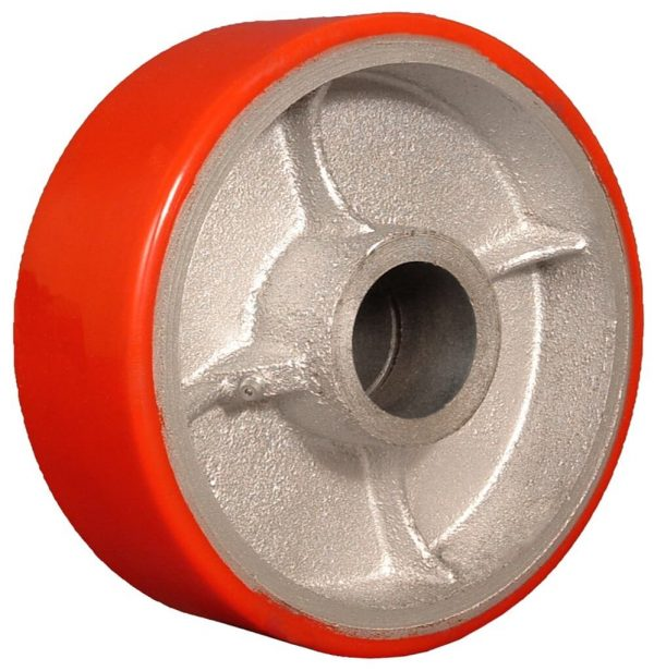 10″X3″ POLYURETHANE ON IRON WHEEL WITH ROLLER BEARING